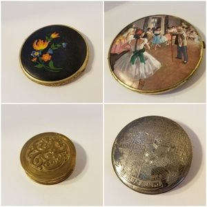 SOLD. Vintage Powder Compact Silver Painted Brass